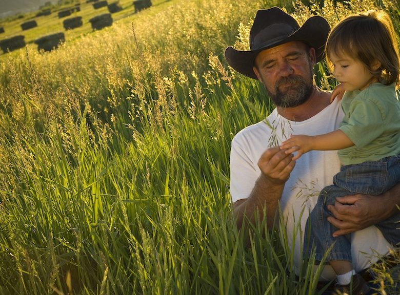 Farmer and child